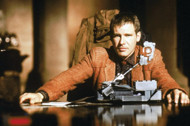 "1982 --- Harrison Ford on the set of ""Blade Runner"", directed by Ridley Scott. --- Image by © Sunset Boulevard/Corbis"